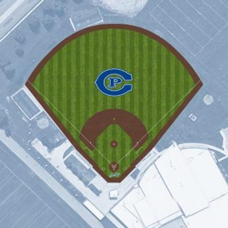 The turf field features a CP logo in center field.